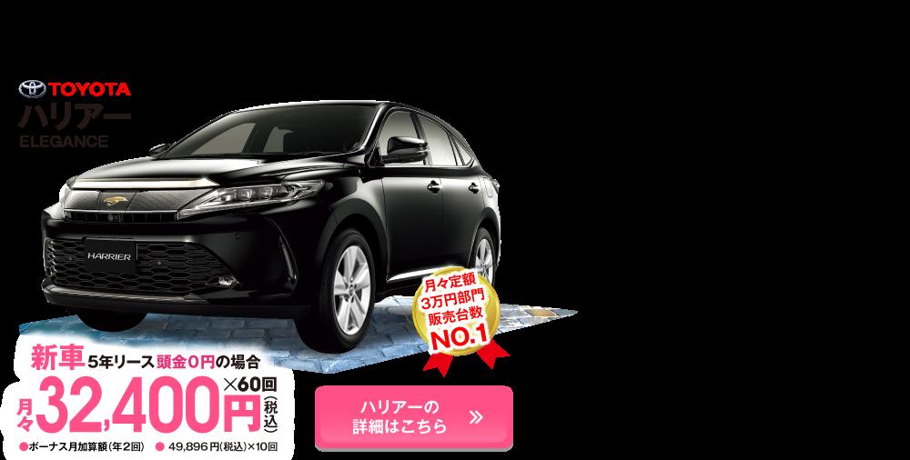 新型ハリアーが月々定額3万円~