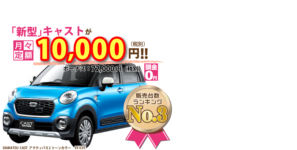 新型キャストが月々定額1万円~